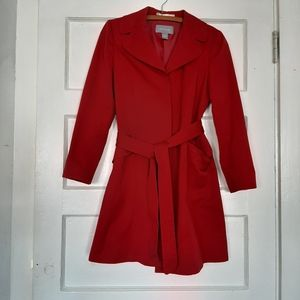 Ann Taylor Single Breasted Red Trench Coat